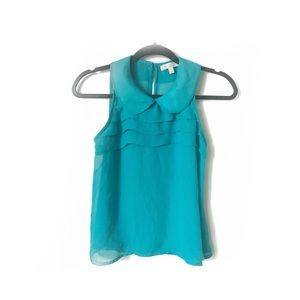 Love, Fire Collard Sheer Chiffon Ruffle Sleeveless